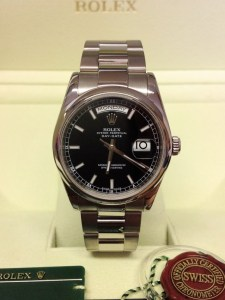 Rolex replica Day-Date 118209 White Gold Black Baton2