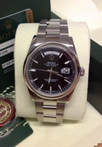 Rolex replica Day-Date 118209 White Gold Black Baton