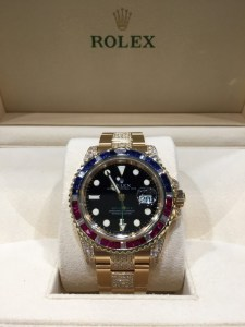rolex replica GMT master II SARU oro giallo red blue bezel2